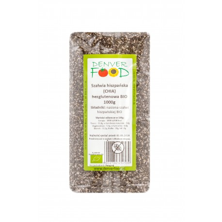 EKO Nasiona CHIA Bezglutenowe 1kg Denver Foods