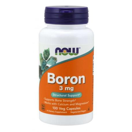 Boron (Bor) 3 mg 100 wegetariańskich kapsułek NOW
