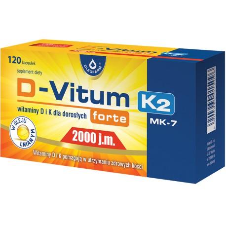 D-Vitum forte 2000 j.m. K2, 120 kapsułek Oleofarm