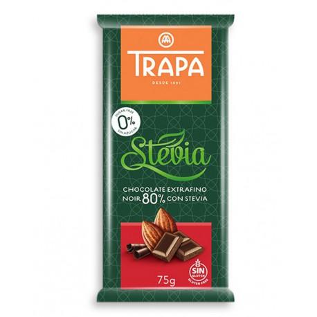 Czekolada gorzka 80% kakao ze stewią bez dodatku cukru Trapa 75g