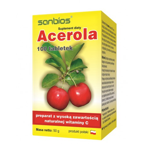 Acerola - naturalna witamina C (Malpighia Glabra) 100tabl. Sanbios
