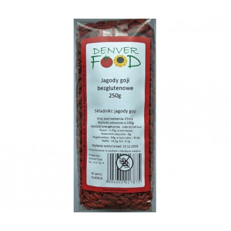 Jagody Goji bezglutenowe 250g Denver Foods