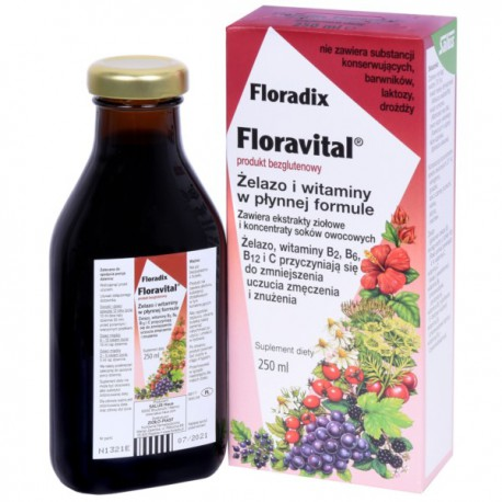 Zioło-Piast Floradix Żelazo Bezglutenowe 250ml Płyn
