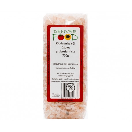Sól kłodawska różowa gruboziarnista 700g Denver Foods