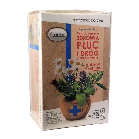 Herbata z lukrecją i kurkumą Zdrowe Płuca i Dróg Oddechowych30x2,5 Mirlek Zioła